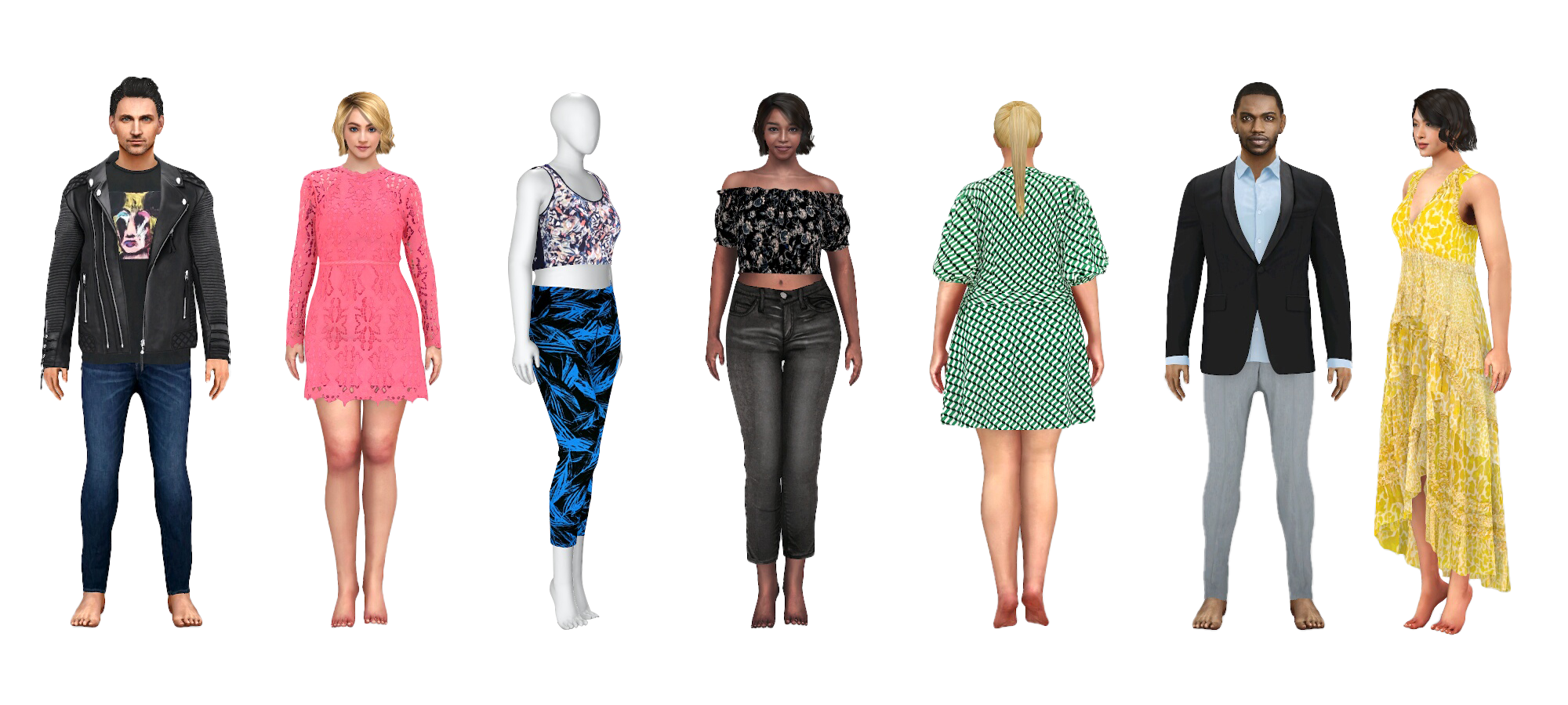 virtual fitting room avatars with differently styled outfits