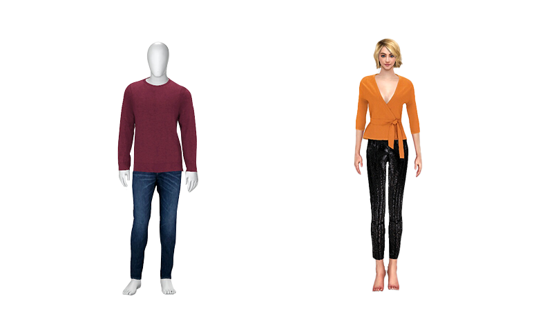 virtual avatars showing styling with multiple layers