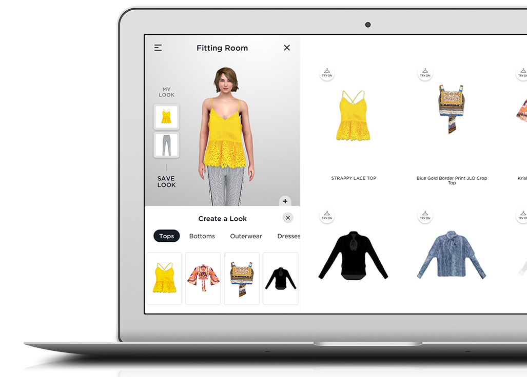 virtual fitting and styling inside an online store shown on a laptop