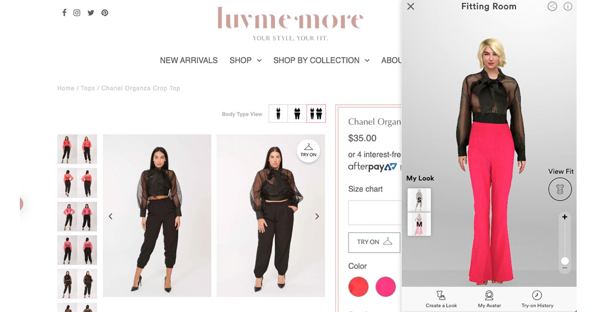 luvmemore virtual fitting room store