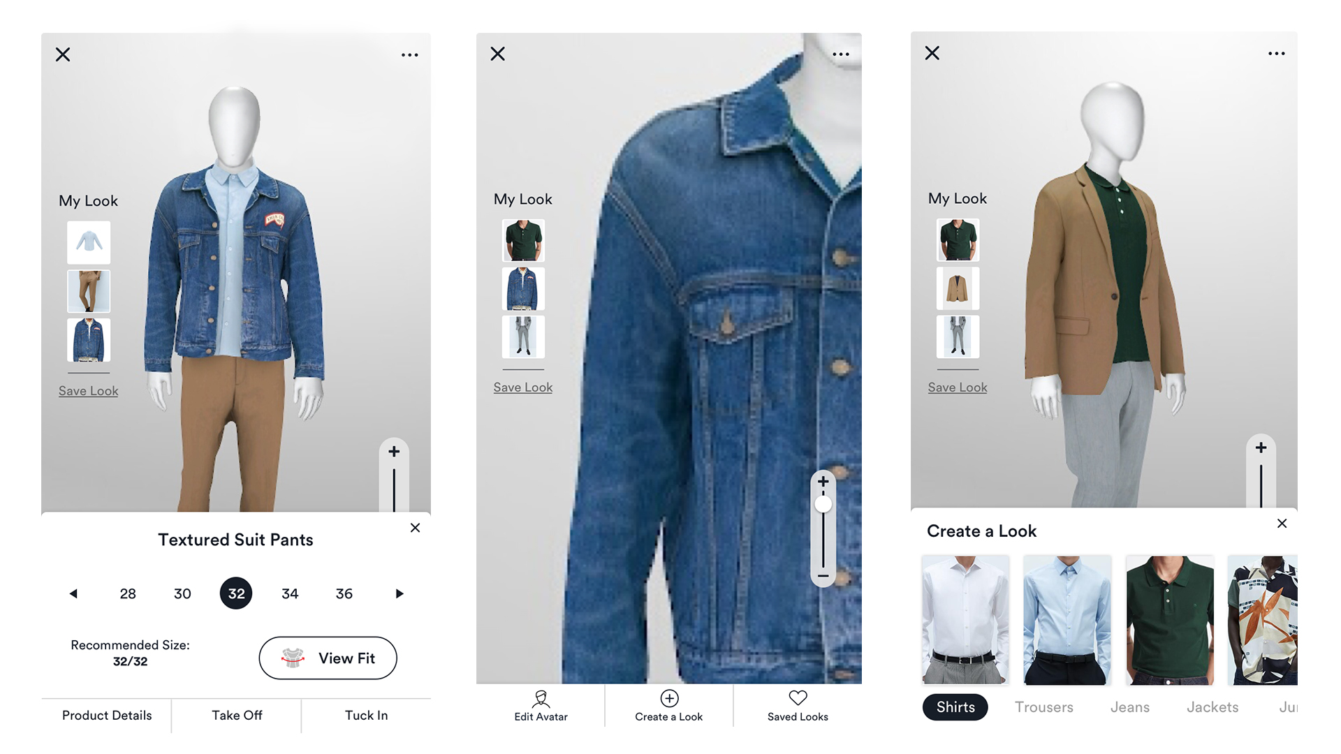 virtual fitting room styling screens