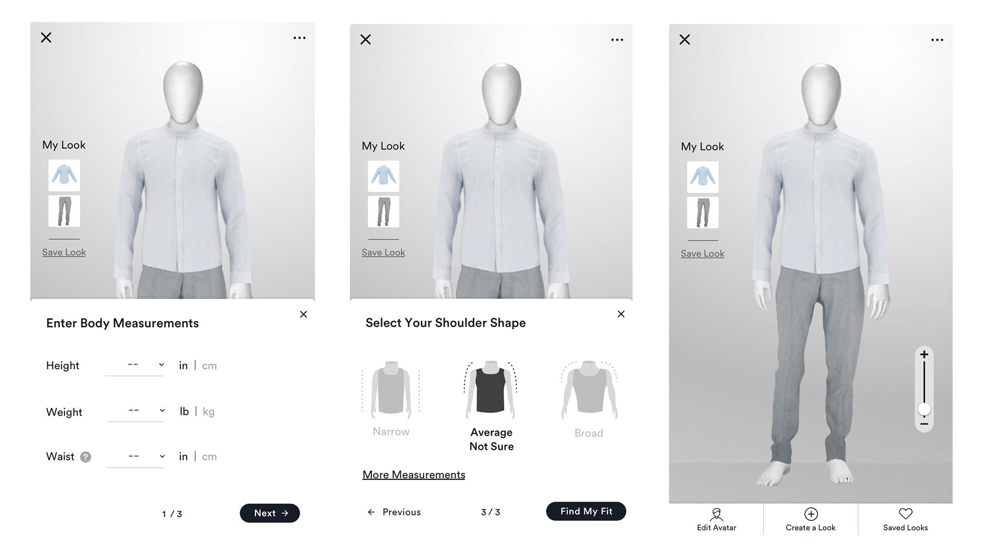Men's virtual fitting room personalized measurement screens