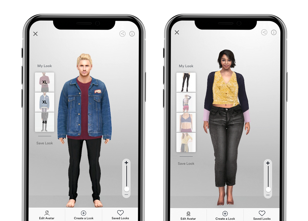 men's and women's virtual fitting room open on a mobile phone