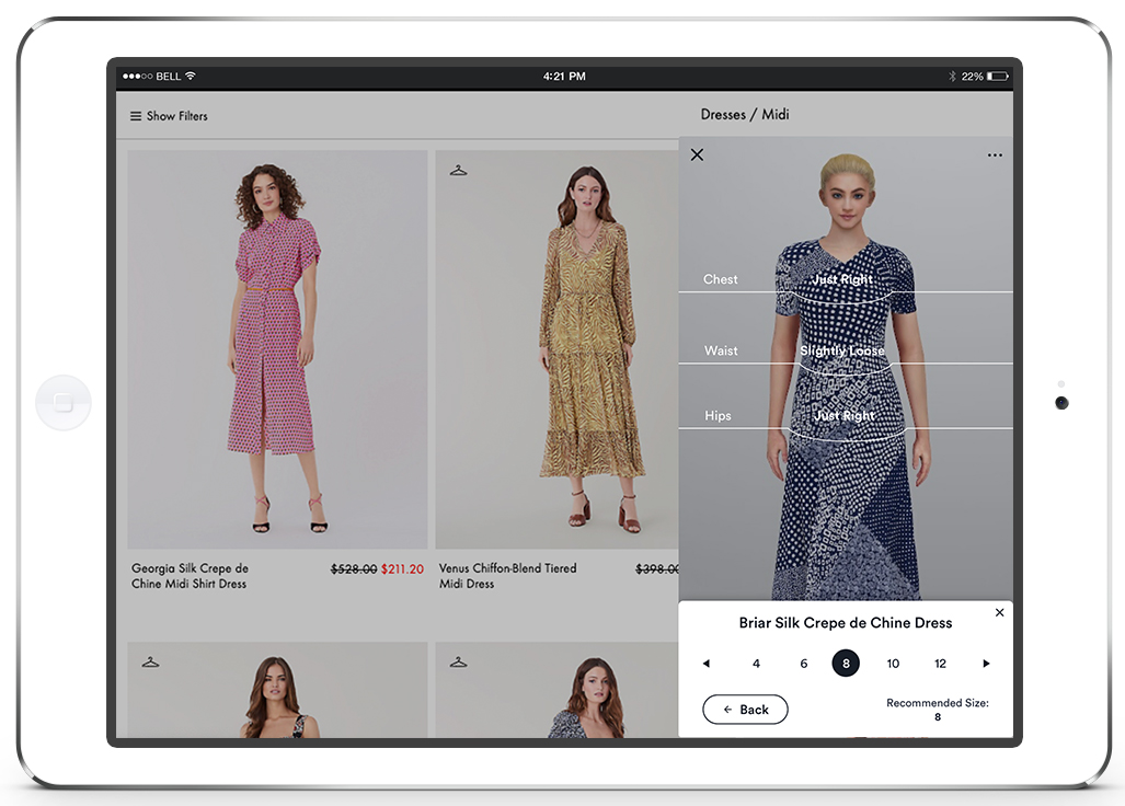 Virtual fitting room fit guide screen view